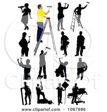 Clipart Silhouetted Workers - Royalty Free Vector Illustration by leonid
