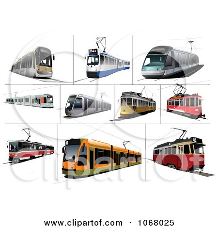 Clipart Tram Buses - Royalty Free Vector Illustration by leonid