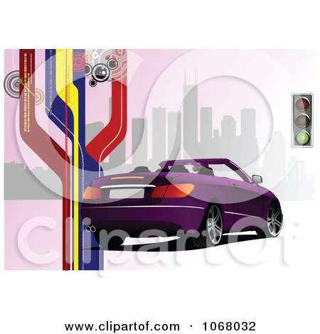 Clipart Convertible Car Background 5 - Royalty Free Vector Illustration by leonid