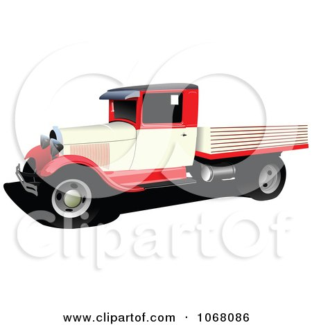 Clipart Vintage Red Pickup Truck - Royalty Free Vector Illustration by leonid