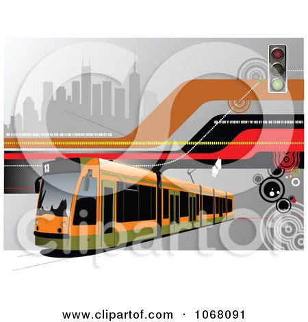 Clipart Tram Bus Background 1 - Royalty Free Vector Illustration by leonid