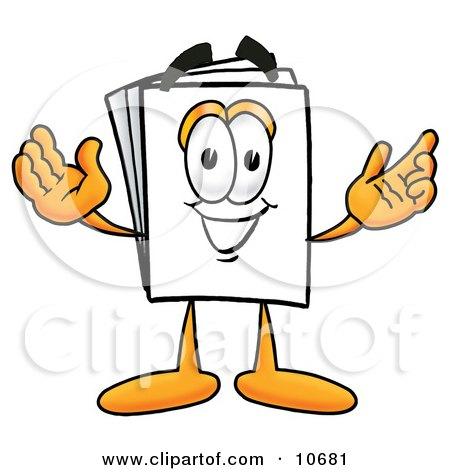 Clipart Picture of a Paper Mascot Cartoon Character With Welcoming Open Arms by Toons4Biz