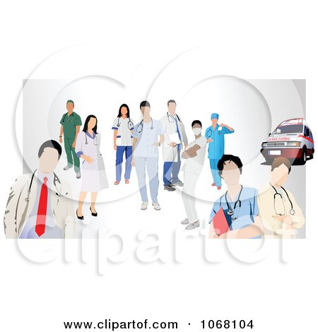 Clipart Medical Staff And An Ambulance Royalty Free