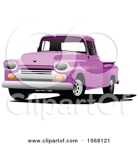 Clipart Vintage Purple Pickup Truck - Royalty Free Vector Illustration by leonid