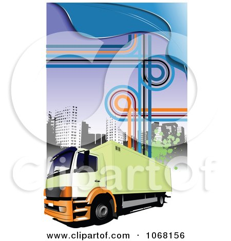 Clipart Big Rig Logistics Background 5 - Royalty Free Vector Illustration by leonid