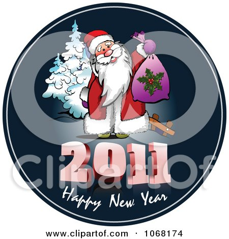 Clipart 2011 Happy New Year Santa Greeting - Royalty Free Vector Illustration by leonid