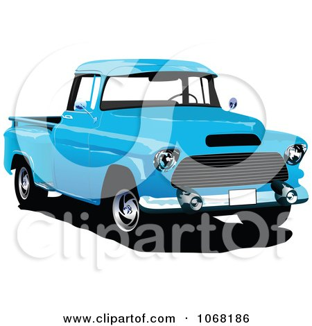 Clipart Vintage Blue Pickup Truck - Royalty Free Vector Illustration by leonid