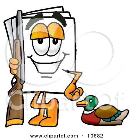 Clipart Picture of a Paper Mascot Cartoon Character Duck Hunting, Standing With a Rifle and Duck by Toons4Biz