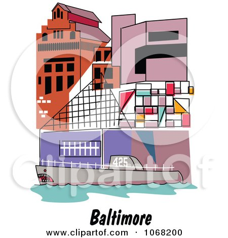 Clipart Baltimore Maryland Ship And Building Scene - Royalty Free Vector Illustration by Andy Nortnik