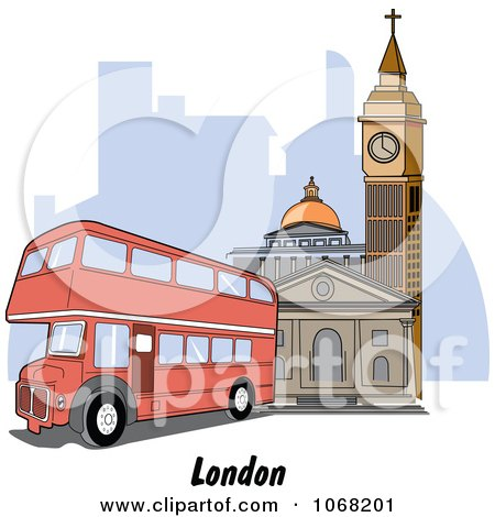 Clipart London England Double Decker And Street Scene - Royalty Free Vector Illustration by Andy Nortnik