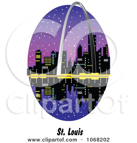 Clipart St Louis Missouri Gateway Arch And Waterfront Scene - Royalty Free Vector Illustration by Andy Nortnik