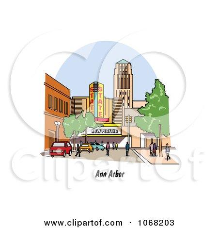 Clipart Ann Arbor Michigan Street Scene - Royalty Free Vector Illustration by Andy Nortnik