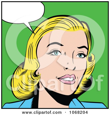 Clipart Pop Art Styled Talking Blond Woman - Royalty Free Vector Illustration by brushingup