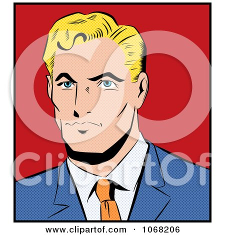 Clipart Pop Art Styled Blond Businessman - Royalty Free Vector Illustration by brushingup