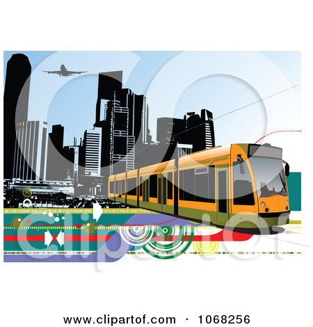 Clipart Tram Bus Background 2 - Royalty Free Vector Illustration by leonid
