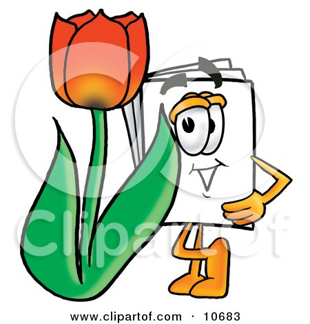 Clipart Picture of a Paper Mascot Cartoon Character With a Red Tulip Flower in the Spring by Toons4Biz