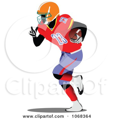 Clipart American Football Player Running - Royalty Free Vector Illustration by leonid