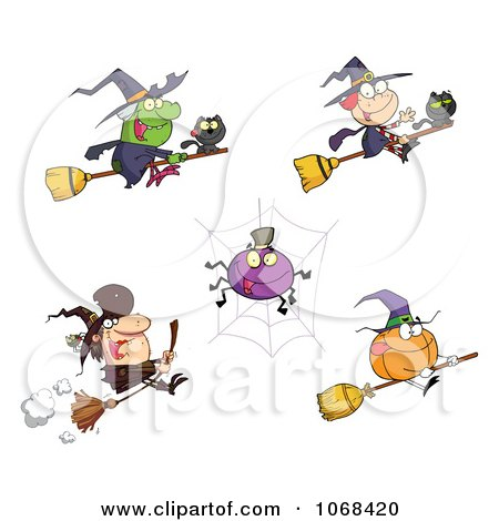Clipart Halloween Witches Spiders And Pumpkins - Royalty Free Vector Illustration by Hit Toon