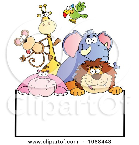 Clipart Group Of Zoo Animals Over A Sign 2 - Royalty Free Vector Illustration by Hit Toon