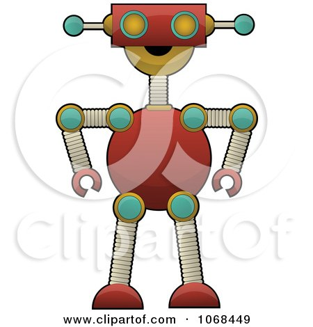 Clipart Happy Red Robot - Royalty Free Vector Illustration by mheld