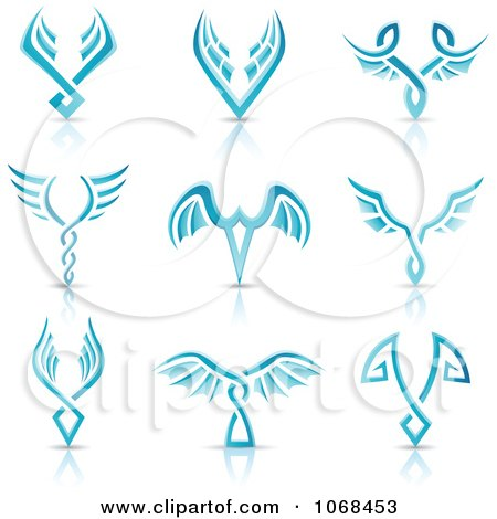 Clipart Blue Wing Logo Icons - Royalty Free Vector Illustration by cidepix