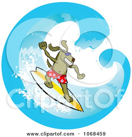 Clipart Surfer Dog In A Wave - Royalty Free Vector Illustration by Paulo Resende