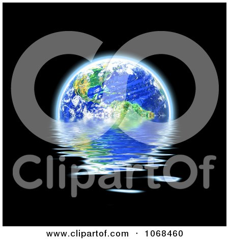 Clipart 3d Earth Floating And Reflecting On Water - Royalty Free CGI Illustration by Arena Creative