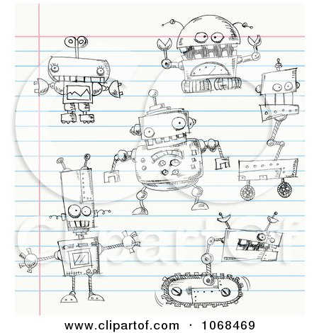 Clipart Robot Doodles On Ruled Paper - Royalty Free Vector Illustration by yayayoyo