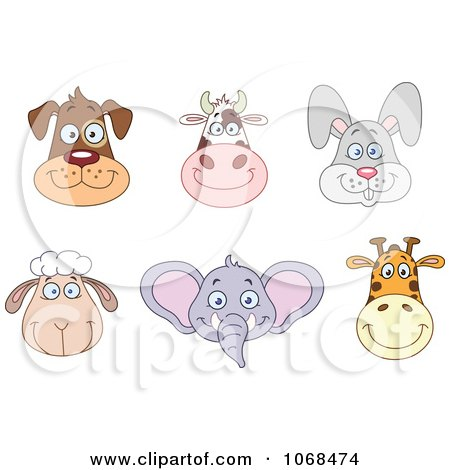 Clipart Dog Cow Rabbit Sheep Elephant And Giraffe Faces - Royalty Free Vector Illustration by yayayoyo