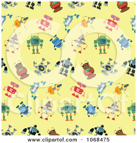 Clipart Seamless Robot Pattern Background - Royalty Free Vector Illustration by yayayoyo