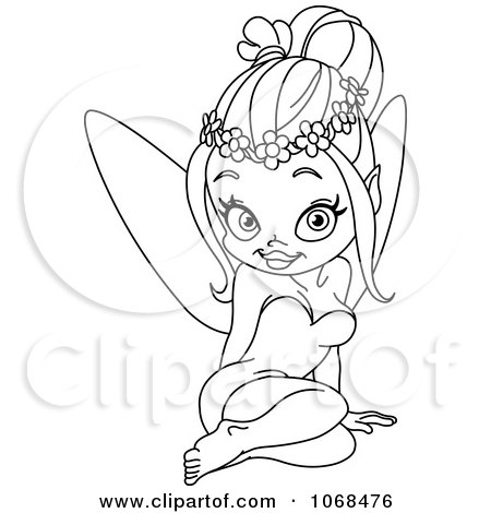 Clipart Outlined Sitting Fairy - Royalty Free Vector Illustration by yayayoyo