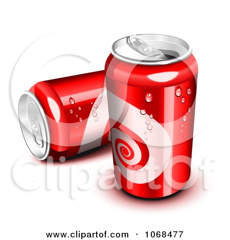Clipart Two Red 3d Soda Cans - Royalty Free Vector Illustration by Oligo