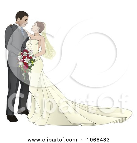 Clipart Bride And Groom Leaning In For A Kiss - Royalty Free Vector Illustration by AtStockIllustration