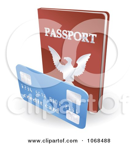 Clipart 3d Passport Book And Credit Card - Royalty Free Vector Illustration by AtStockIllustration