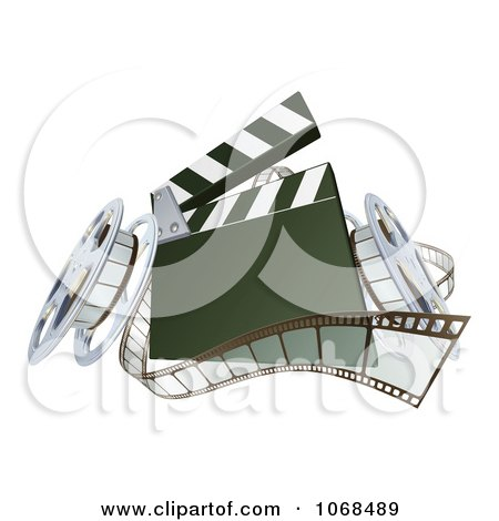 Clipart 3d Film Reels And A Clapper Board - Royalty Free Vector Illustration by AtStockIllustration