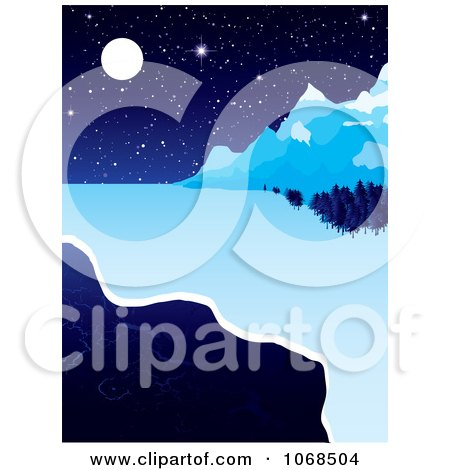 Clipart Icy River And Night Background - Royalty Free Vector Illustration by michaeltravers