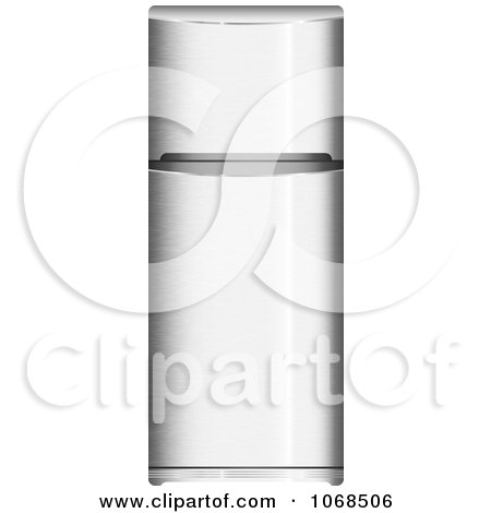 Clipart Stainless Steel Refrigerator - Royalty Free Vector Illustration by michaeltravers
