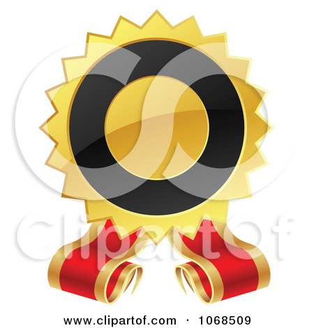 Clipart 3d Black And Gold Label With Ribbons - Royalty Free Vector Illustration by vectorace