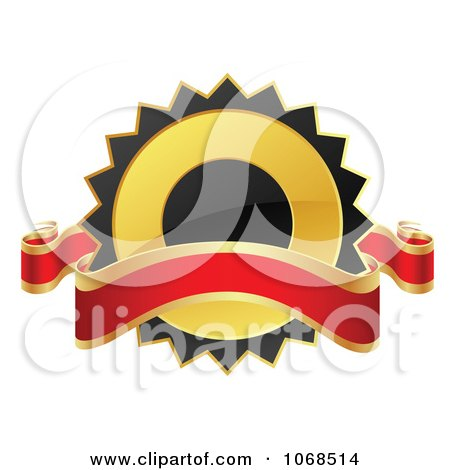 Clipart 3d Black And Gold Label With A Banner - Royalty Free Vector Illustration by vectorace