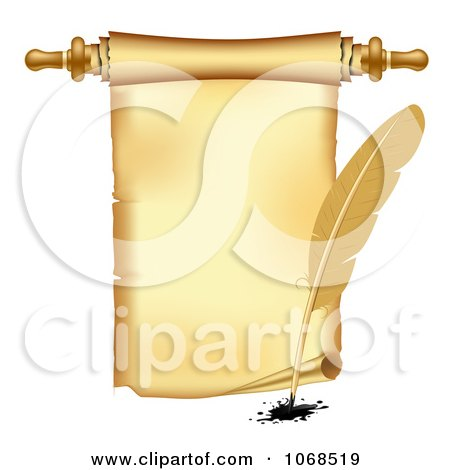 Clipart 3d Vintage Scroll And Quill Pen - Royalty Free Vector Illustration by vectorace