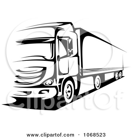 Clipart Black And White Big Rig Truck 1 - Royalty Free Vector Illustration by Vector Tradition SM