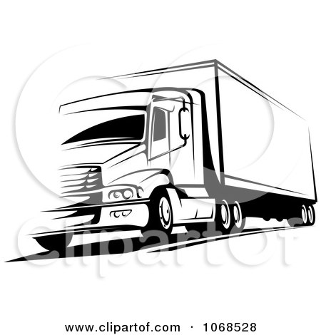 Clipart Black And White Big Rig Truck 2 - Royalty Free Vector Illustration by Vector Tradition SM
