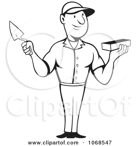 Clipart Outlined Mason Holding A Trowel And Brick - Royalty Free Vector Illustration by patrimonio