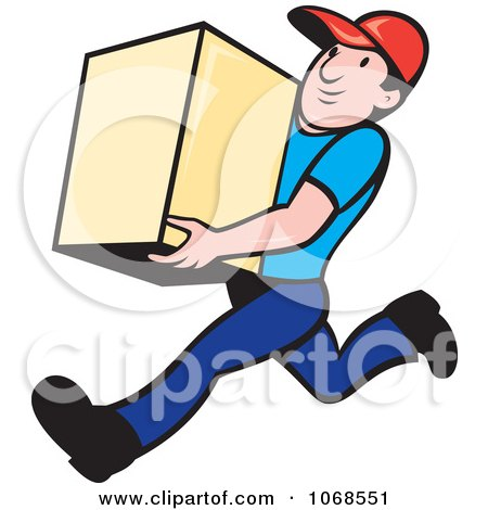 Clipart Delivery Man Running With A Box - Royalty Free Vector Illustration by patrimonio