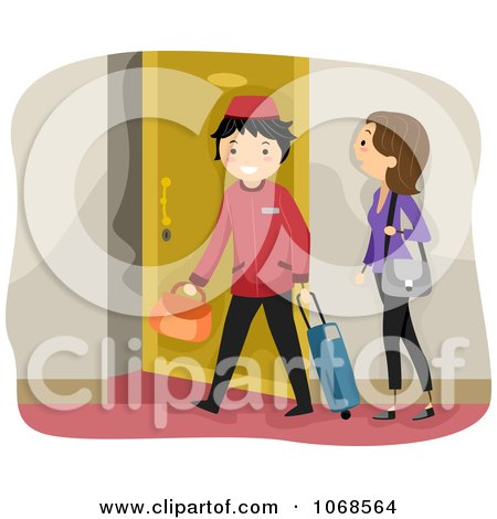 Clipart Bellboy Helping A Woman To Her Room - Royalty Free Vector Illustration by BNP Design Studio