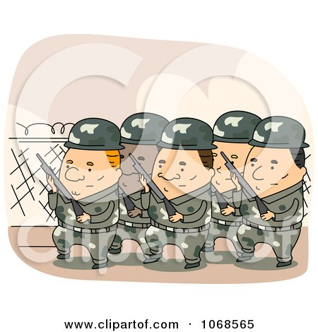Clipart Marching Soldiers - Royalty Free Vector Illustration by BNP Design Studio