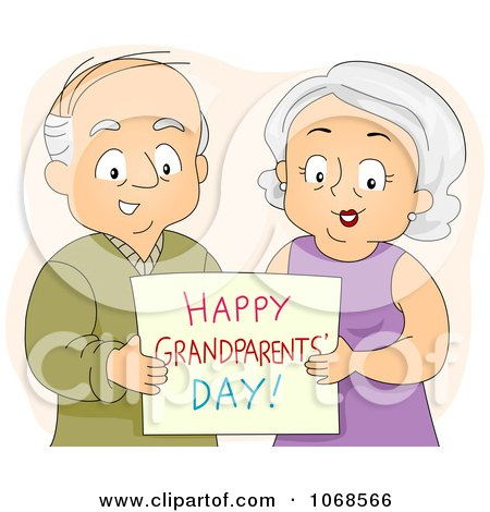 Clipart Seniors Holding A Happy Grandparents Day Card - Royalty Free Vector Illustration by BNP Design Studio