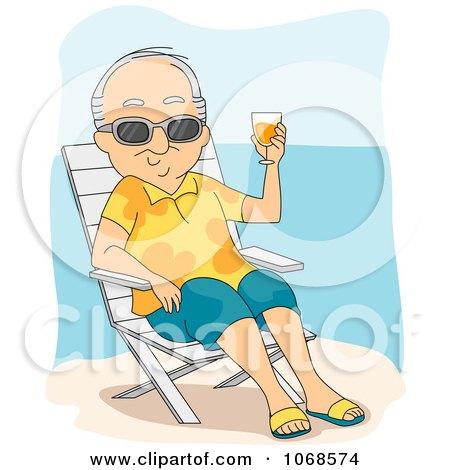 Clipart Retired Man Sun Bathing On The Coast - Royalty Free Vector Illustration by BNP Design Studio