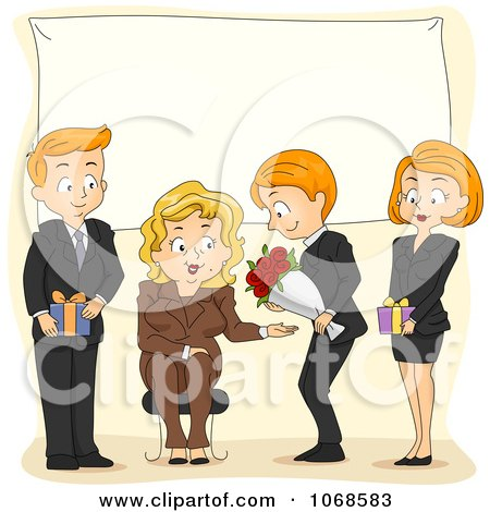 Clipart Office Party For A Retiring Businesswoman - Royalty Free Vector Illustration by BNP Design Studio