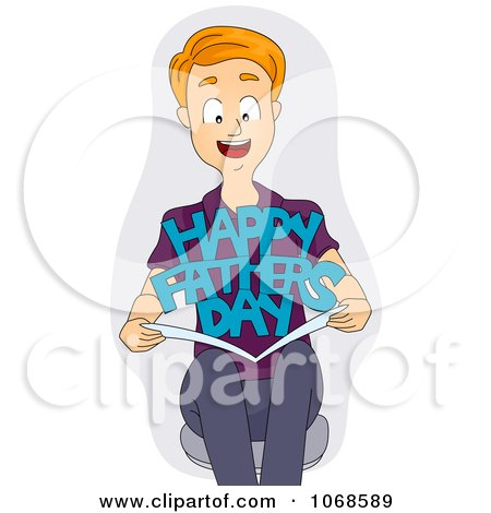 Clipart Man Holding A Fathers Day Card - Royalty Free Vector Illustration by BNP Design Studio